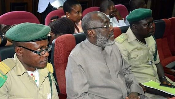 Photos: Olisa Metuh comes to court on stretch bed